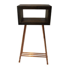 upd midcentury modern plywood and copper pipe display table display and wall