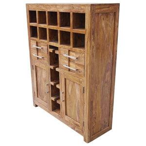 Portland Grand Solid Wood Wine Bar Liquor Storage Cabinet