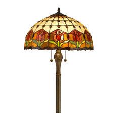 Amora Lighting Tiffany Style Tulips Floor Lamp 18-Inch Shade