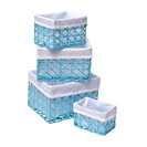 Paper Rope Storage Totes, Blue Turquoise, 4-Piece Set