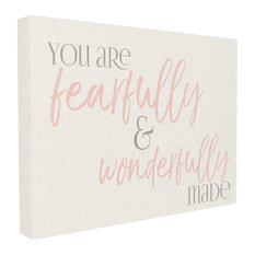 """""""Fearfully Wonderfully Made Pink Typography"""" 16x20, Stretched Canvas Wall Art"""