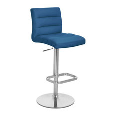 Lush Adjustable Height Swivel Armless Bar Stool, Dark Blue