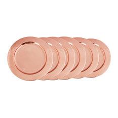 "Set/6 13"" Dia. Hammered Decor Copper Rim Charger Plates"