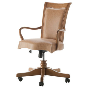 Adjustable Swivel Armchair With Leather Upholstery