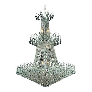 Elegant Victoria 18-Light Chrome Chandelier Clear Royal Cut Crystal
