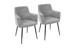 LumiSource Andrew Dining Chair, Gray, Set of 2, Gray/ Black