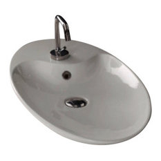 Oval-Shaped White Ceramic Vessel Sink, One Hole