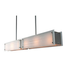 Rimelight Linear Suspension, Metallic Beige Silver, Frosted Strata Glass, E26