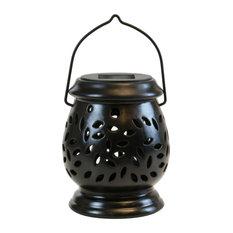Solar Powered Black Ceramic Lantern