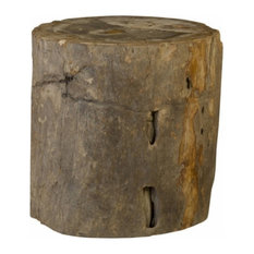 """26""""T Stool Stump Solid Petrified Wood Natural Smooth Rustic Finish"""