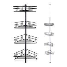Aquaterior 4 Tier Metal Corner Shelf Caddy Telescopic Bathroom Rack, Black