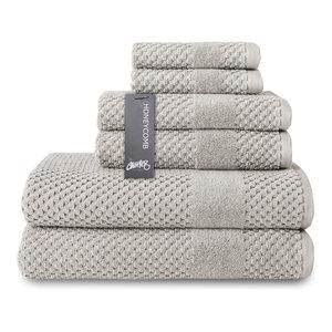 Honeycomb 6-pc Towel Set, Silver