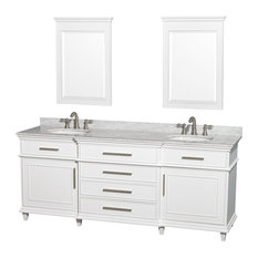 """Wyndham Collection 80"""" Berkeley White Double Vanity and Carrera Marble Top"""
