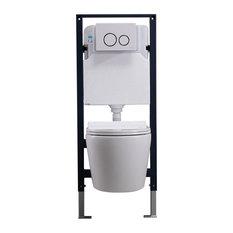 Homary Wall Hung Elongated Toilet Bowl 1.1/1.6 GPF Dual Flush Toilet