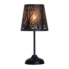"15"", Hollowed Out Metal Forest, Black Color, Table Lamp"