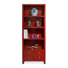 Elmwood Chinese Zen Bookcase, Red