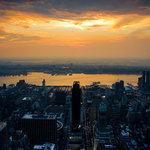 Pi Photography Wall Art and Fine Art - Sunset Over New York City Urban Landscape Photography Unframed Wall Art Print, 2 - Sunset over New York City Night Photography (Urban Landscape Photograph) - Luster Photo Paper Unframed Wall Art Print
