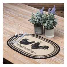 Sawyer Mill Charcoal Poultry Jute Placemat Set of 6 12x18