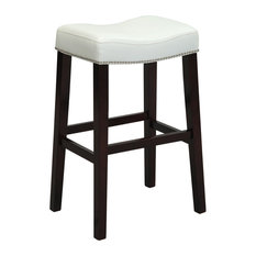 Acme Furniture - Lewis Stools Set of 2 White Counter Height - Bar  sc 1 st  Houzz & Upholstered Saddle Seat Bar Stools and Counter Stools | Houzz islam-shia.org