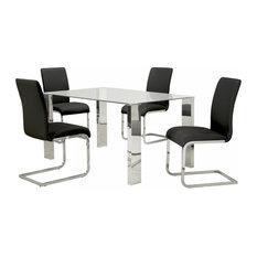 Frankfurt/Maxim 5-Piece Dining Set Chrome Table/Black Chair