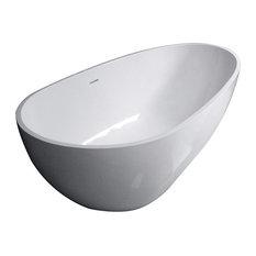 "Aqua Eden Contemporary Solid Surface Resin Freestanding Fusion Tub, 67"""