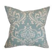 "Malaga Damask Pillow Village Blue 18""x18"""