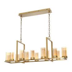 Londra LED Rectangular Chandelier in Brass