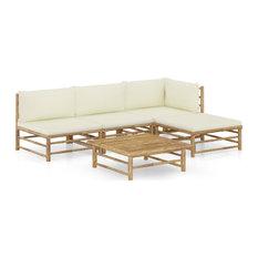 vidaXL Garden Lounge Set 5-Piece With Cream White Cushions Bamboo Outdoor Seat