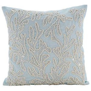 Pearly Sea Tangle, Blue 50x50 Cotton Linen Cushions Covers for Couch