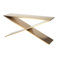 Prague Stainless Steel Console Table Gold