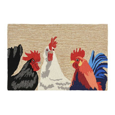 Liora Manne Frontporch Barnyard Roosters Natural Rug, 2'6'x4'
