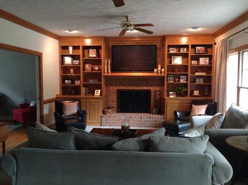 Honey Oak Built In Bookshelves