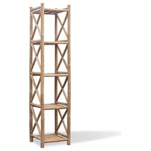 VidaXL 5-Tier Square Bamboo Shelf