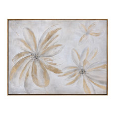"Extra Large Modern Daisies Floral Wall Art, 49"" Painting Gold Beige Gray"