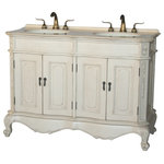 """Chinese Arts Inc - 50"""" Antique Style Double Sink Bathroom Vanity Model 5000-261 BE - Beige color stone countertop"""