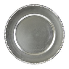 Lacquer Round Beaded Charger, Set of 6, Silver