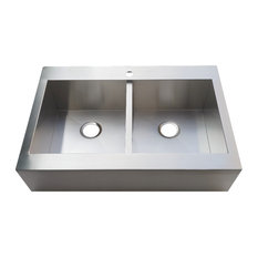 """Gourmetier Drop-In 33"""" Double Bowl Farmhouse Kitchen Sink, Brushed"""