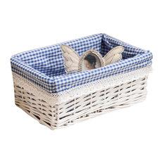 Cosmetic Storage Basket Wicker Basket Food Storage Basket, Blue and White