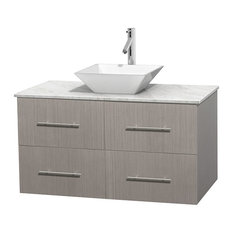 "42"" Single Bathroom Vanity in Gray Oak, White Carrera Marble Countertop, Sink"