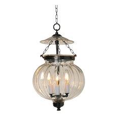 "Melon Hundi Glass Bell Jar Lantern 10""D, Antique Bronze"