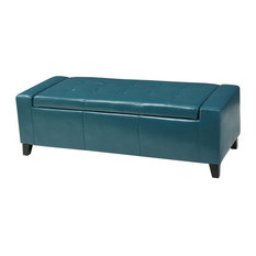 GDFStudio - Robin Teal Leather Storage Ottoman Bench - Footstools and Ottomans