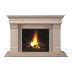 Fireplace Stone Mantel 1110S.556 With Filler Panels, Buff, With Hearth Pad