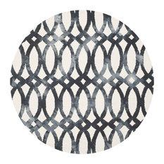 Safavieh Denali Dip Dye Rug, Ivory and Graphite, 7'x7' Round