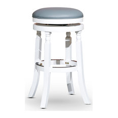 """DTY Indoor Living Palmer Lake Swivel Stool, 24"""" or 30"""", White/Gray Leather Seat,"""