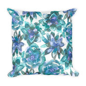 Watercolor Succulent Pattern Square Pillow
