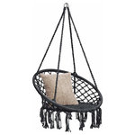 Brawbuy - Hanging Hammock Chair Macrame Swing, Lounge Swing Chair, Black - Ideal for your bedroom, patio, and more, this stylish indoor/outdoor hanging chair can be hung from any sturdy overhang for the perfect lounging spot