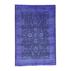 Hand Knotted Purple Cast Peshawar Overdyed Pure Wool Oriental Rug