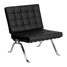 Offex Contemporary Black Leather Lounge Chair With Curved Legs