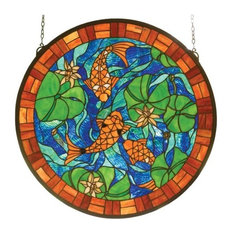 "24""Wx24""H Koi Pond Lily Stained Glass Window"