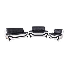 AYCP Furniture-3PC Living Room Set Sofa/Loveset/Chair Black/White